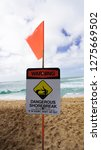 a warning sign to all beach...   Shutterstock . vector #1275669502
