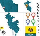 vector map of lima with named... | Shutterstock .eps vector #1275683545