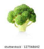 Fresh raw broccoli on white background - stock photo