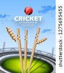 illustration of batsman playing ... | Shutterstock .eps vector #1275695455