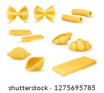 realistic dry macaroni various... | Shutterstock .eps vector #1275695785