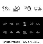 logistics icon set and forklift ...
