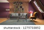 interior of the living room. 3d ... | Shutterstock . vector #1275733852