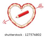 red pencil shavings in shape of ... | Shutterstock .eps vector #127576802
