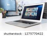 vod service on laptop. video on ... | Shutterstock . vector #1275770422