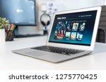 vod service on laptop. video on ... | Shutterstock . vector #1275770425