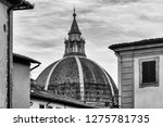 Black and white view of the dome of the Basilica of Our Lady of Humility, Pistoia, Tuscany, Italy