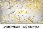 2019 realistic gold tinsel... | Shutterstock .eps vector #1275804955