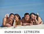 group of happy young people... | Shutterstock . vector #127581356