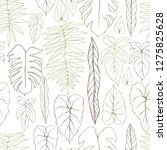 hand drawn tropical plants....   Shutterstock .eps vector #1275825628