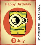 happy birthday card with cute... | Shutterstock .eps vector #127584332