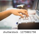 hand s female typing on... | Shutterstock . vector #1275881758