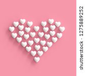 white hearts made form heart on ... | Shutterstock . vector #1275889252