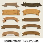 cartoon wood banners and... | Shutterstock .eps vector #127593035