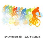 group of cyclist in the bicycle ... | Shutterstock .eps vector #127596836