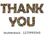 thank you banner with floral... | Shutterstock .eps vector #1275995545