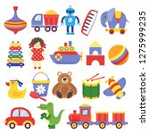 kids toys. game toy peg top... | Shutterstock .eps vector #1275999235