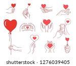 heart hands male set. man hand... | Shutterstock .eps vector #1276039405