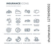 16 linear insurance icons such... | Shutterstock .eps vector #1276040002