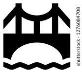 suspension bridge over water...   Shutterstock .eps vector #1276084708
