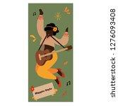 hippie girl with guitar in flat ... | Shutterstock .eps vector #1276093408