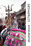 Small photo of Allahabad Uttar Pradesh India - Jan 06,2019: A Kinnar (Transgender) Is Sitting On Her Horse With Trisul In Parade Of Kinnar In Allahabad City.