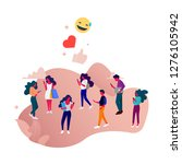 social network flat... | Shutterstock .eps vector #1276105942