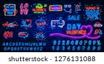 valentine's day. 3d neon sign.... | Shutterstock .eps vector #1276131088