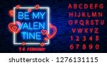 valentine's day. 3d neon sign.... | Shutterstock .eps vector #1276131115