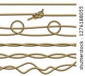 set of different ropes on white ... | Shutterstock .eps vector #1276188055