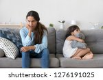 annoyed frustrated mother and... | Shutterstock . vector #1276191025