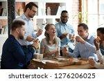 happy diverse team people... | Shutterstock . vector #1276206025