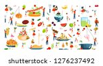 set of oversize dish and tiny... | Shutterstock .eps vector #1276237492
