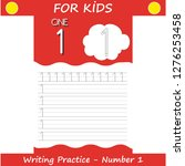 writing practice number one... | Shutterstock .eps vector #1276253458