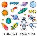 cute patches set with space... | Shutterstock . vector #1276273168