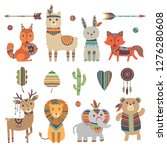 tribal animals. cute zoo... | Shutterstock .eps vector #1276280608