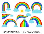 colored rainbows with clouds... | Shutterstock .eps vector #1276299508