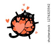 Stock vector black cat cartoon character with a belly full of hearts valentine s day greeting card floating 1276325542