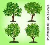 set of abstract vector trees | Shutterstock .eps vector #127636436