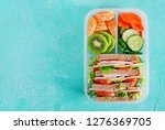 school lunch box with sandwich  ... | Shutterstock . vector #1276369705