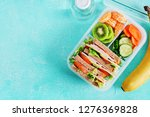 school lunch box with sandwich  ... | Shutterstock . vector #1276369828