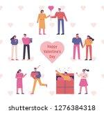 valentine's day romantic lovers ...   Shutterstock .eps vector #1276384318