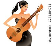 beautiful woman playing... | Shutterstock .eps vector #1276384798