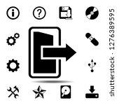 exit open door with arrow icon. ...
