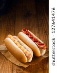 two hotdog  one with ketchup ... | Shutterstock . vector #127641476
