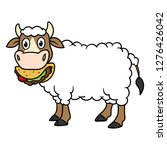 cartoon cow with wool eating... | Shutterstock .eps vector #1276426042