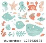 seahorse  octopus  crab  snail  ... | Shutterstock .eps vector #1276430878