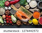 healthy food clean eating... | Shutterstock . vector #1276442572