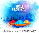 happy holi celebration  indian... | Shutterstock .eps vector #1276453642