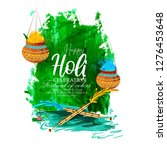 happy holi celebration  indian... | Shutterstock .eps vector #1276453648